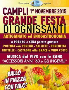 """Campli. """"Festa di Ognissanti"""":artigianato, enogastronomia, musica e falò in piazza"""