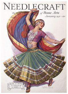 Ruth St Denis, cover of needlecraft magazine, 1931