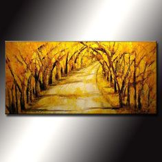 Original Abstract Landscape Painting, Modern Tree Pathway Painting , Autumn Color painting by Henry Parsinia Large 48x24 Made to order