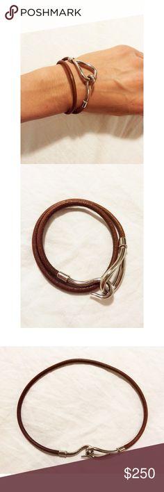 Hermes Jumbo Hook Bracelet 100% authentic Hermes Jumbo Hook double wrap bracelet.  Can also be worn as a choker.  In good condition.  No trades. Hermes Jewelry Bracelets
