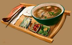 Sea Food Noodles by ~zhuzhu on deviantART Restaurants, Food Painting, Food Icons, Food Drawing, Food Illustrations, Food Art, Noodles, Really Cool Stuff, Seafood