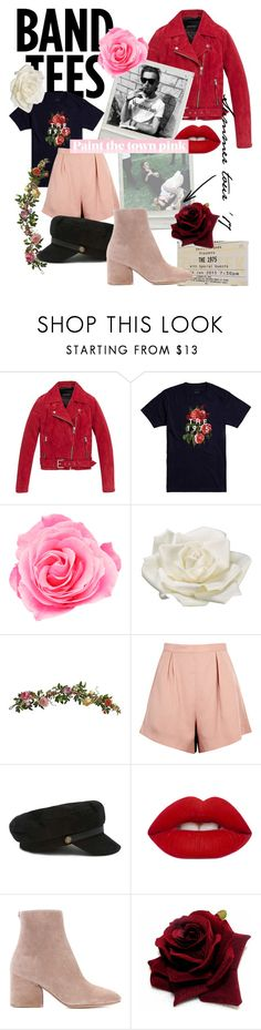 """""""Band tees"""" by thesoulcities ❤ liked on Polyvore featuring Andrew Marc, ADAM, Allstate Floral, Nearly Natural, Finders Keepers, Forever 21, Lime Crime and Salvatore Ferragamo"""