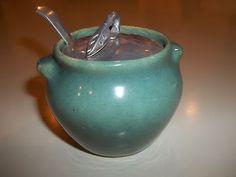 Vintage Zanesville Stoneware Crock Jam Jar Sugar Bowl SEAFOAM Green Lid & Spoon Sugar Bowls, Jam Jar, Sea Foam, Mud, Crock, Stoneware, Polish, Pottery, Ceramics