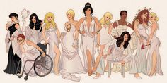 DCU women. left-to-right: Selina Kyle (Catwoman), Barbara Gordon (seated) (Oracle), Zatanna Zatara, Dinah Lance (Black Canary), Kara Zor-El (Powergirl), Diana of Themyscira (Wonder Woman), Kara Zor-El (Supergirl), Mari McCabe (Vixen), Katherine Kane (seated) (Batwoman), Pamela Isley (Poison Ivy), Harleen Quinzel (Harley Quinn)