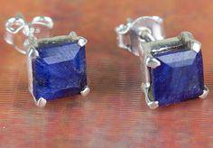 Sapphire Jewellery – Unique Solid Silver Sapphire Gems Stud BJS-128-SA – a…