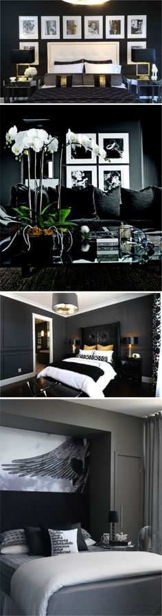 Master bedroom with dark wall, grey black white gold colour scheme