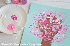 Q-Tip Painted Handprint Cherry Blossom Tree - Kid Craft - Glued To My Crafts Spring Art Projects, Spring Crafts, Projects For Kids, Crafts For Kids, Easter Crafts, Q Tip Painting, Painting For Kids, Art For Kids, Art Children