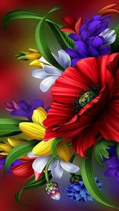 Ideas For Wallpaper Flores Coloridas Beautiful Flowers Wallpapers, Beautiful Nature Wallpaper, Butterfly Wallpaper, Colorful Wallpaper, Wallpaper Backgrounds, Red Flowers, Pretty Flowers, Colorful Flowers, Amazing Flowers