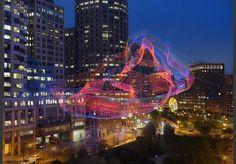 aerial sculpture / Rose Kennedy Greenway in Boston / spiderweb fashion / Janet Echelman