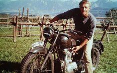"Steve McQueen on his Triumph TT 650 Special in ""The Great Escape""."