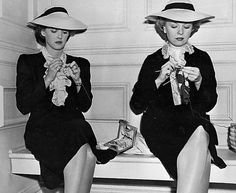 The flow of creativity  Bette Davis and friend knitting