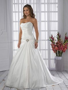 A-Line Ball Gown Princess Strapless Sweetheart Dropped Satin Taffeta Wedding Dress