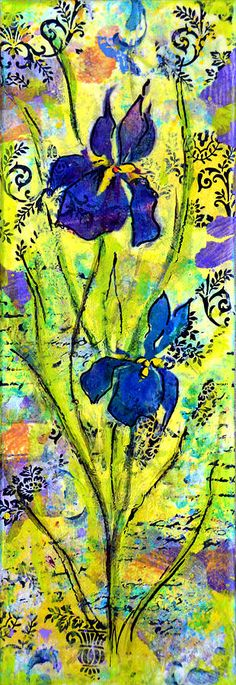 French Irises - mixed media by ©Carla Parris (via FineArtAmerica)