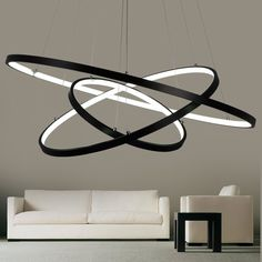 Pendant Light Modern Design/ LED Three Rings/ for office,Showroom,Living Room - Lighting pop Interior Lighting, Home Lighting, Modern Lighting, Lighting Design, Industrial Lighting, Luxury Interior, Lighting Ideas, Pendant Lighting, Interior Design