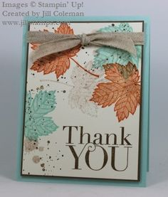 A Clean and Simple card for Fall featuring the Magnificent Maple and Another Thank You stamps from Stampin' Up! Handmade Thank You Cards, Greeting Cards Handmade, Fall Cards, Holiday Cards, Stampin Up, Leaf Cards, Stamping Up Cards, Thanksgiving Cards, Tampons