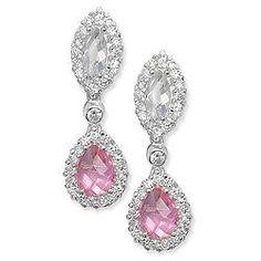 Sterling Silver Pink Cubic Zirconia Drop Earrings