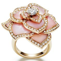 Piaget - Rose gold ring with diamonds and pink opals. Photo courtesy press office.