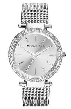 ba82124903f1 Michael Kors  Darci  Crystal Bezel Mesh Strap Watch