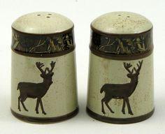 Salt and Pepper Shakers Deer Lodge Ceramic