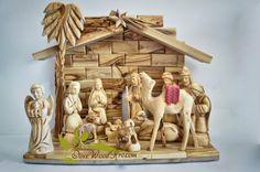Olive wood Carved Olive wood Nativity set , made of natural carved olive wood. Statue high 17cm / 6  Statues : { Mary, Joseph, baby, 3 wise men ,