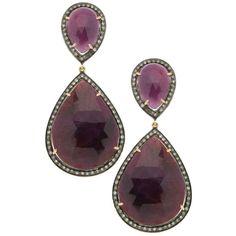 Diamond Frame Pink Sapphire Teardrop Earrings ❤ liked on Polyvore