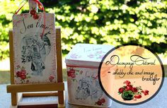 Decoupage tutorial - Shabby chic style with candle and image transfer