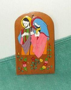 Hand Painted Wooden Nativity Plaque-Folk Art-El Salvador-Mary-Joseph-Baby Jesus    eBay