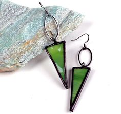 Mottled Green Stained Glass Earrings  Triangle Drops  by LAGlass