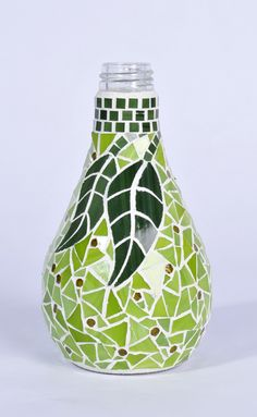 mosaic glass pear using recycled glass bottle