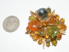 Vintage signed ART rhinestone & art Glass BROOCH costume jewelry