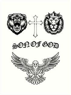'Son of god' Art Print by fadibones Tattoos For Women On Thigh, Tattoos For Women Half Sleeve, Tattoos For Women Small, God Tattoos, Baby Tattoos, Tatoos, Justin Bieber Tattoos, Framed Tattoo, Tattoo Project