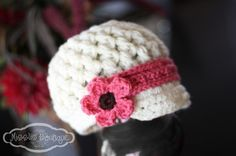 Girls Crochet Hat  Visor Beanie with Mary Jane strap