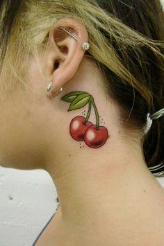 cherry tattoo/industrial piercing @Savannah Lewis