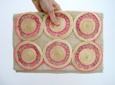 Upcycled Burlap Clutch  Made of Vintage 1960s Raffia Placemat Circle Applique by JetSetCoco, $40.00