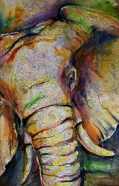 I love this elephant! I WANT!  #elephant #design #art #color #painting