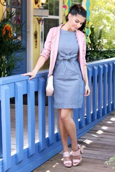 Fun denim dress from Anthropologie. This photo is from my style guide post on how to wear 1 denim dress 3 different ways.