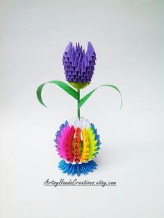 3d Origami Rainbow Easter Egg/Rainbow Vase with 3d Origami Tulip Flower, 3d Origami Easter Egg, 3d Origami Vase, 3d Origami Tulip Flower