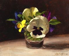 """Pansies"" By Sarah K. Lamb, from Petersburg, Virginia, USA (b. 1971) - oil on canvas -"