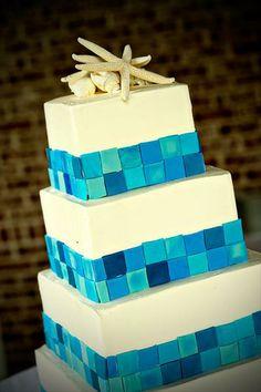 sea glass inspired wedding cake