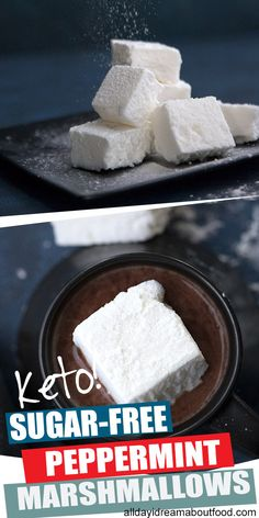 Homemade sugar free marshmallows are easy to make and so fun to eat. These keto friendly treats are perfect in hot chocolate and delicious on their own. And they are almost completely carb free! Ketogenic Desserts, Keto Friendly Desserts, Low Carb Keto, Low Carb Recipes, Low Carb Deserts, Keto Candy, Keto Holiday, Recipes With Marshmallows, Clean Eating Snacks