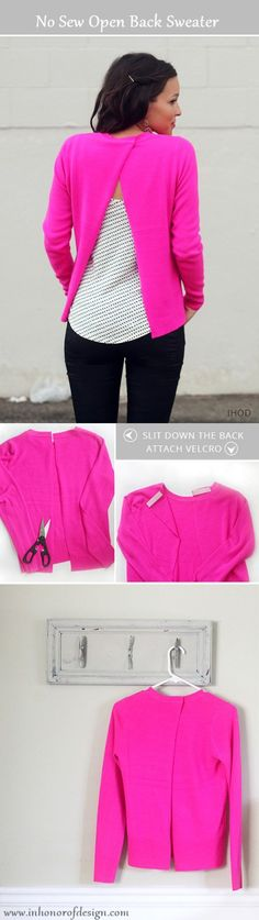 28 Trendy diy clothes no sewing jeans sweaters Sewing Jeans, Sewing Shirts, Sewing Clothes, Diy Jeans, Jeans Pants, Diy Shirts No Sew, Old Sweater, Sweaters, Coral Sweater
