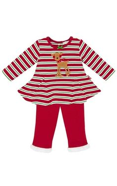 Le Top-Rockin' Reindeer-Striped Swing Top & Faux Fur Trim Pants Holiday Top Les, Swing Top, Holiday Outfits, Fur Trim, Faux Fur, Reindeer, Christmas Dresses, Boys, Pants