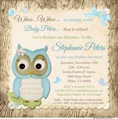 Blue Wood-Patterned Baby Boy Owl Shower Invitation