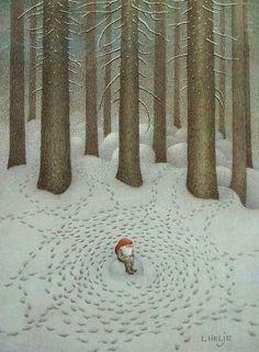 "Lennart Helje ""The Mystery of Life"" Christmas Elf, Christmas Cards, Christmas Themes, Baumgarten, Fun Illustration, Scandinavian Christmas, Swedish Christmas, Scandinavian Design, Yule"
