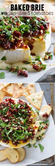 If you are looking for a show-stopping appetizer that only takes minutes to make, this Baked Brie Recipe with Sun-Dried Tomatoes is your answer!  Melty cheese is topped with a mixture of  sun-dried tomatoes, garlic and parsley in this addictive starter.
