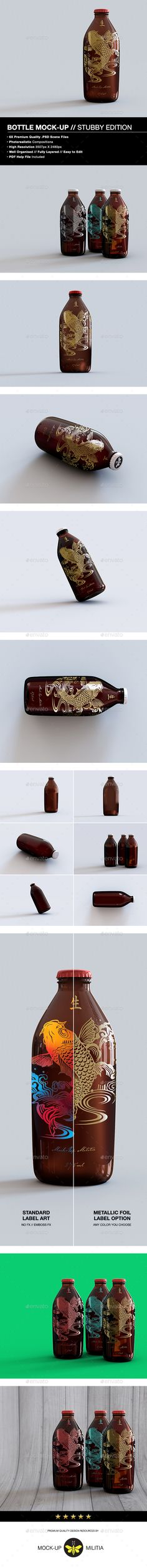 Beer Bottle Mock-Up by Mock-Up-Militia This high-quality, high-resolution premium amber glass stubby bottle mock-up