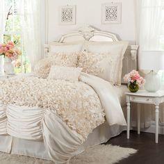 Lucia Four Piece Ivory Comforter Set Queen