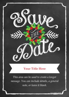 #Chalkboard #Christmas #Save #the #date #eCard $10 designed by Jeannie L Dickson on @pingg