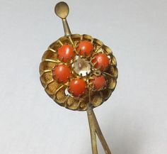 Japanese Antique Geisha's Gold Metal Hirauchi Kanzashi 簪 Hairpin Ornament of Chrysanthemum