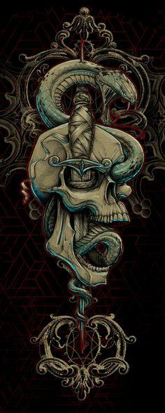 ☮ American Hippie Skull Art
